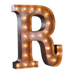 """Used 24"""" Vintage Marquee Light - Letter R - Great for weddings, restaurants, bars, events, home decor, or even photo/set props. These Vintage Marquee Lights are what the """"Pickers"""" dream of finding! The are carefully crafted from rusty metal to make them look authentic and antique.  Artificial wear and tear is created on each letter and wear will differ from sign to sign. Color will also vary due to naturally occurring rust.     Due to the rust, inside packaging can become dusty during transit. Open with care. Once open, shake dust off. There is a 24"""" tall, 4"""" deep (arrow 36"""" tall) hanging bracket on back for easy wall installation. New UL Approved wiring, plugs, sockets and C9 bulbs included. 5 spare bulbs per sign also included incase of breakage during shipping. Plug into standard outlet. Indoor/outdoor use."""