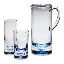Taipro/li And Fung - Bubble Bottom Acrylic 1 9/10-Quart Pitcher - Featuring an air bubble trapped in the blue tinted bottoms, this acrylic drinkware is a stylish companion to afternoons drinking iced tea and lemonade amongst friends.