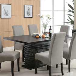 """Coaster - Stanton Collection Black Dining Table - The Stanton collection will give your contemporary casual dining and entertainment room a bold update. With this unique wave design and different chair options, you can mix and match to create the perfect look for your home. Made from Ash veneers and finished in a rich black.; Contemporary Style; Stanton Collection; Finish: Black; No assembly required.; Dimensions: 66""""L x 42""""W x 31""""H"""