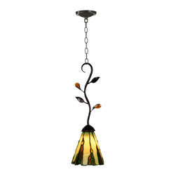 Dale Tiffany - Dale Tiffany TH90290 Ripley Modern / Contemporary Mini Pendant Light - Golden art glass is set in a slate pattern in our Ripley mini pendant. Art glass jewels in darker yellow, amber, blue and green create the impression of water running down a slate wall. The pendant hangs from a gracefully curved and scrolled branch finished in antique golden sand, which has been adorned with metal and amber leaves. A breathtaking piece of illuminated art, this pendent is beautiful when hung alone, but truly spectacular when hung in multiples over a table, bar or buffet.