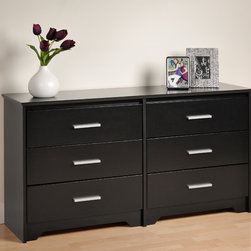 Prepac Coal Harbor Black 6-Drawer Dresser - Made of CARB compliant composite woods finished in rich, deep color, the Coal Harbor Black 6-Drawer Dresser with thick MDF tops enhances the contemporary style. Inset drawers run on smooth rollers with safety stops.