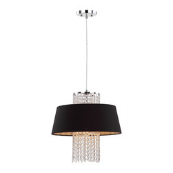 Safavieh - Cadenza Pendant Light - A cascade of crystal beads is given a bold modern treatment with the addition of a black cotton drum shade to create the Cadenza pendant light. With its glossy chrome frame, this fixture is a glamorous update to transitional or contemporary interiors.
