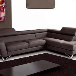 J&M Furniture - Sparta Italian Leather Sectional Sofa in Chocolate Brown, Right Chaise - Seats and backs of this Sparta Italian Leather Sectional Sofa in Chocolate Brown have high density foam to give extra comfort and support. This sectional also features top grain genuine Italian leather all around with no splits, adjustable head rest and ratchet mechanism. *29'' Height - 290 lbs