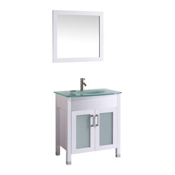 "Vanova - Vanova VA101-30W Cabinet, Basin & Mirror White Vanity - Our stylish floor standing all wood vanity includes frosted glass top with an integrated round sink and frosted glass soft closing doors with matching mirror. Color: White , Vanity: 30""W x 21.26""D x 36""H, Mirror: 19""W x 27""H, Includes: Cabinet-frosted glass basin & mirror, Hardware: Soft-closing doors, Faucet & drain not included"