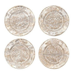 """Juliska - Juliska Set of 4 Firenze Medici Cocktail Plates Gold - From the Firenze Collection - classic Italian marbling whisks you away to the Tuscan hillside for a fireside dinner 'per due'. Unique Gold & Silver Marbelization. Hand Wash Only Please. Dimensions: 7"""" W. Handmade in Portugal. Gift Boxed Set/4"""