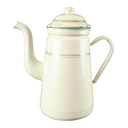 EuroLux Home - Consigned Antique French Cream  Gold Enamelware Kettle - Product Details
