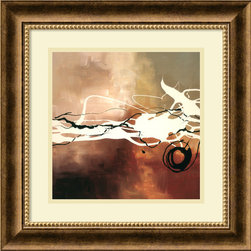 Amanti Art - Copper Melody II Framed Print by Laurie Maitland - A soft background in the colors of storm clouds beneath sharp, amorphous black and white forms conveys electric passion. When hanging in your home, this print by Laurie Maitland will accent your traditional look with artful zest.