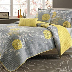 E & E Co., Ltd. - Ella 4-5 Piece Quilt Set - The Ella quit set is the perfect way to brighten up your room any time of year. Its soft grey background enhances the yellow flowers and white leaf details and includes sham(s) and decorative pillows for an instant way to update your bedroom.