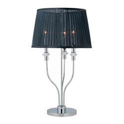 Lite Source - Marrim Table Lamp in Chrome w Black Organza Shade - Candelabra bulb with medium base included. Shade dimension: 13 in. L x 16.25 in. W x 10.25 in. H. Lamp dimension: 16.25 in. W x 28.5 in. H (12.2 lbs.). Product Installation Instructions