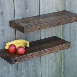 Barn Wood Floating Shelves, 29x11, Kitchen, Bath - Awesome pair of reclaimed solid chestnut floating shelves. Refined reclaimed finish beautifully fills the need for opened display shelving in the kitchen, bathroom or anywhere beautiful shelving is needed. Super sturdy and hold more than 90 pounds each when fastened to studs.They come with keyhole fasteners installed for easy, secure installation. They adjust easily to fit your stud placement. Light coats of varnish.