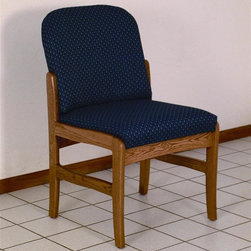 Wooden Mallet - Armless Wood Chair (Leaf Taupe) - Fabric: Leaf TaupeCasual style blends with high function with this home or office chair. Iconic armless design is crafted from solid oak, then finished with medium-tone stain. Upholstery is available in a variety of popular colors for a customized appearance. Wooden Mallet. Pictured in Medium Oak with Blue Arch fabric finish. 1 In. thick solid oak frame. Extra thick seat and back cushions. Full length, fully upholstered, arched backs lend style and comfort. Minimal assembly required. Made in the USA. Complies with California TB 117 fire code. 1-Year limited warranty. Weight capacity: 400 lbs. per seat. 26 in. D x 21.5 in. W x 37 in. H (28 lbs.). Seat dimension: 16.5 in. D x 19.5 in. W x 14.5 in. H. Seat height: 19 in.Wooden Mallet's Dakota Wave Prairie series with its full length, fully upholstered back offers graceful styling for sophisticated good looks. This standard leg armless model is for those who desire a more traditional, elegant look. This chair is constructed of solid oak with a state-of-the-art finish for beauty and durability. Choose from dozens of stain and fabric combinations to customize this chair for any décor or contact us to learn about supplying your own fabric for a personalized look. Choose this chair as part of our complete Dakota Wave collection of coordinating lobby essentials.