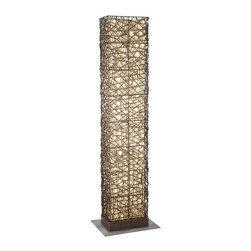 Eglo - Eglo 89562A 2 Light Floor Outdoor Floor Lamp Shuko Collection - Eglo 89562A Shuko 2 Light Floor Outdoor Floor LampMake a bold statement with this eclectic lamp from the Shuko Collection featuring a Rectangle Shaped cage of wicker-like material with an Antique Brown Finish. This unique artistic piece will make a bold statement in any room.Eglo 89562A Features: