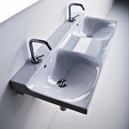 "WS Bath Collections - Buddy 39.4"" x 16.5"" Double Sink - Buddy by WS Bath Collections Double Bathroom Sink 39.4"" x 16.5"", Wall-Mounted Washbasin, With One Faucet Hole Centered, Made in Italy"
