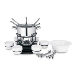 Trudeau - Lazy Susan 3-in-1 Fondue Set - With a Lazy Susan base, this fondue will be even easier to use and enjoy. There's a stainless steel pot for meat and seafood fondue and a stoneware bowl for cheese and chocolate.