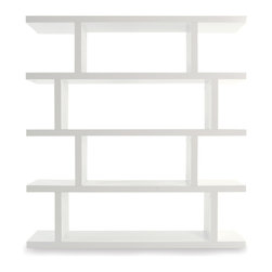 Tema Home - Step High, Pure White - Your friends will think you built custom shelves when you fill a wall with row upon row of these staggered-style shelving units. Coming in two heights, these attractive, asymmetrical pieces can stand alone or be combined to fit any space perfectly. Ideal for home libraries, room dividers or even the pantry, the sky's (and ceiling's) the limit.