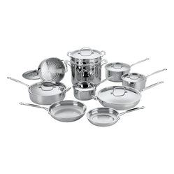 Cuisinart - Cuisinart Chef's Classic Stainless Steel 17-Piece Cookware Set - Brilliant stainless steel finish for classic look and professional performance