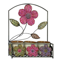 "Metal Flower Window Box - Metal window box with pink, purple, and green metal flower design. Comes with three 6"" pots. 24"" x 20"" in size"