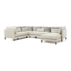 Asana 3-Piece Sectional Sofa - High-drama living space centerpiece makes a grand statement in long clean lines, deep seating, comfort zone-creating cushions and layers of textures and neutrals. Grand, tuxedo-style design makes Asana ideal for socializing around the coffee table, as a tranquil curl-up hideaway, or a stretch-out spot for enjoying a good book or catnap. Layered fabrics begin with a bright cream cotton-poly covering to its slim frame. Seat, back and bolster cushions and kidney pillows layer it on in a vanilla linen-blend along with lustrous velvet box pillows in smoke. Casual elegance—warm, clean and current—anchored on six tapered hardwood legs.
