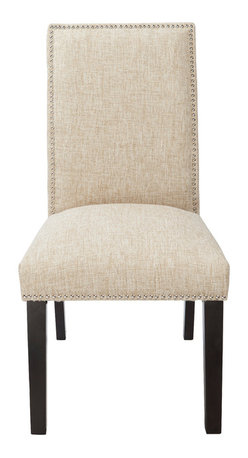 "4D Concepts - 4D Concepts Burnett Parson Chair in Polyester Blend Natural ""Sand"" Woven - Make this comfy Parsons dining chair a valued and sophisticated part of your dining room decor. The single row of silver colored nailheads that outline the back of the parson chair resonates elegance that will finish off any room in the home   The additional touch of finshing the bottom edge of the chair with the silver nailheads and finishing the legs in a deep espresso make this chair perfect for that special room in the home.  Assemble required."