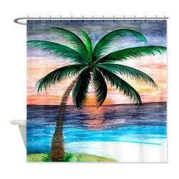 usa - Tropical Sunset Shower Curtain - Beautiful shower curtains created from my original art work. Each curtain is made of a thick water resistant polyester fabric. The permanently applied art work appears on the front side with the inside being white. 12 button holes for easy hanging, machine washable and most importantly made in the USA. Shower rod and rings not included. Size is a standard 70''x70''
