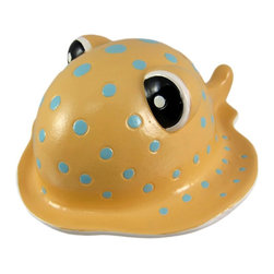 Stingray Coin Bank Money Piggy Naturalon Recycled - This cool stingray money bank is made of Naturalon, an eco friendly material similar to ceramic, but biodegradable. The bank measures 4 1/4 inches tall, 8 3/4 inches deep and 7 1/2 inches wide. It empties via a pull-off rubber piece on the bottom. It is hand-painted, and really brightens up a nautically themed room.