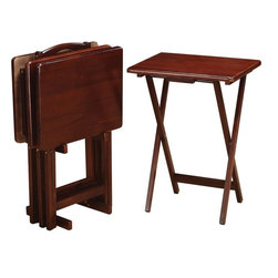 Coaster - 5pc Tray Table Set, Merlot - Add more table space with these four merlot solid wood tray tables. Easy to open and put away. Stand included.
