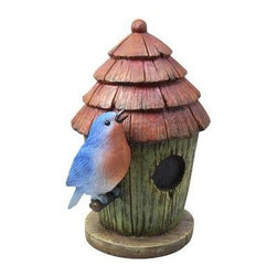 Coleman Cable - Blue Bird House - MOONRAYS-- Blue Bird with Birdhouse. Company will take a second look to see if this blue bird is real! Blue LED inside bird glows at night. 1 x 300mAh AA NiCd rechargeable battery included. Handpainted polyresin. Runs up to 8 hours on a full charge. Bulk pack (white box) with UPC sticker.