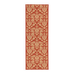 Safavieh - Indoor/ Outdoor Seaview Red/ Natural Runner (2'4 x 6'7) - This polypropylene runner rug is made for use outdoors as well as anywhere where it can get wet, since it resists water, mold, mildew, and other elements. Its attractive red background and classic pattern makes it ideal for your kitchen or patio.