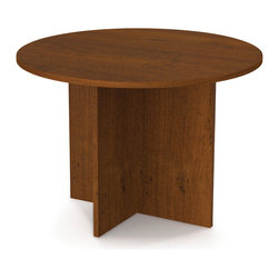 "Bestar - 42"" Round Meeting Table in Tuscany Brown - Durable 1"" commercial grade work surfaces with melamine finish that resist scratches, stains and wears. Deluxe 0.25 cm PVC edge. This item meets or exceeds ANSI/BIFMA performance standards.; Color: Tuscany Brown; Dimensions: 42""L x 42""W x 30.4""H"