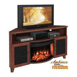 "Furnitech - Shaker Style Corner 61"" TV Stand with Curved Electric Fireplace - Introducing the combination of a High-Tech Home Theater Platform with the timeless pleasures of a warm hearth. Furnitech has taken its classic entertainment console designs and combined them with a simple to use electric fireplace that can be easily integrated into virtually any principal room of a residence. Whether you live in a city apartment or a private home in the suburbs, you can now enjoy the soothing benefits of a fireplace without the costly demands of a real one. Our consoles are fully equipped to handle the most demanding surround sound equipment installations while providing the warmth and ambience of a real fireplace. Our electric fireplaces are designed for safe, clean and economical use operating from any 120V household outlet. You may opt to take the chill off a room by initiating the powerful fan forced electric heater or simply turn on our life like flame effect and glowing realistic looking logs to create a captivating appearance. All electric firebox features can be initiated from the controls on the unit or with our hand held remote control. No venting or other complicated installations are required. Just insert the firebox into our media console, plug it in and enjoy! Features: -Wood framed doors with speaker grille cloth.-Media storage cabinets.-Open equipment compartment.-Internal Wire Management function.-Ventilated back panels.-Center leg support with some levelers.-Realistic wood burning effect.-Full functional remote control with timer.-Adjustable heat and flame brightness.-Fixed tempered glass front.-Plugs into any standard outlet.-Shaker collection.-Recommended TV Type: Flat screen or plasma.-Finish: Dark Cherry.-Powder Coated Finish: No.-Gloss Finish: Yes.-Material: Veneer, MDF, Solid Wood.-Number of Items Included: 1.-Distressed: No.-Drawers: No.-Cabinets: Yes -Number of Cabinets: 1.-Number of Doors: 2.-Door Attachment Detail: European Hinge.-Interchangeable Panels: No.-Magnetic Door Catches: No.-Cabinet Handle Design: Round wooden knob.-Number of Interior Shelves: 2.-Adjustable Interior Shelves: Yes..-Scratch Resistant: No.-Ventilation Features: Ventilation slots in back panel.-Removable Back Panel: Yes.-Hardware Finish: Stainless Steel.-Casters: No.-Accommodates Fireplace: Yes.-Fireplace Included: Yes -Fireplace Type: Electric.-Firebox Construction: Steel.-Functional Fireplace: Yes.-Optional Fireplace Heat: Yes.-BTU Output: 4770 BTU.-Wattage Output: 1400 W.-Power Requirement: 120 V-60 Hz.-Ampere Requirement: 11.5 Amps.-Electric Flame Type: LED.-Space Heating Capacity: 400 sq ft.-Adjustable Temperature: Yes.-Adjustable Flame: Yes.-Flickering Flame Effect: Yes.-Thermal Overload Protection: Yes.-Timer Function: Yes.-Heat Proof Glass: Yes..-Lighted: No.-Media Player Storage: Yes.-Media Storage: Yes -Media Storage Capacity: 68 DVDS/175 CDS..-Cable Management: Yes.-Remote Control Included: Yes.-Batteries Required: Yes -Battery Type: 1 Button Cell.-Batteries Included: Yes..-Weight Capacity: 500.-Swatch Available: Yes.-Commercial Use: Yes.-Collection: Shaker.-Eco-Friendly: Yes.-Recycled Content: No.-Lift Mechanism: No.-Expandable: Yes.-TV Swivel Base: No.-Integrated Flat Screen Mount: No.-Hardware Material: Stainless steel hinges, steel screws for joinery.-Non-Toxic: No.-Product Care: Clean with dry cloth.Specifications: -ISTA 3A Certified: No.-CARB 2 Certified: No.-CARB Certified: No"