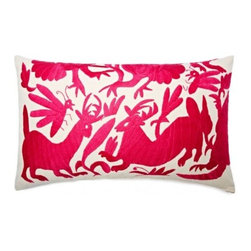 5 Surry Lane - Mexican Embroidered Otomi Pink Pillow - Warm up your sofa or bedding with a colorful throw pillow. The rich and storied pattern originates with the Otomi Indians of Mexico, and is still hand-embroidered by them today. Pick from two sizes and six vibrant colors to complement your well-traveled aesthetic.