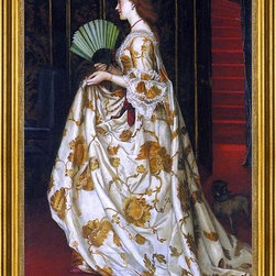 """Valentine Cameron Prinsep-16""""x24"""" Framed Canvas - 16"""" x 24"""" Valentine Cameron Prinsep My Lady Betty framed premium canvas print reproduced to meet museum quality standards. Our museum quality canvas prints are produced using high-precision print technology for a more accurate reproduction printed on high quality canvas with fade-resistant, archival inks. Our progressive business model allows us to offer works of art to you at the best wholesale pricing, significantly less than art gallery prices, affordable to all. This artwork is hand stretched onto wooden stretcher bars, then mounted into our 3"""" wide gold finish frame with black panel by one of our expert framers. Our framed canvas print comes with hardware, ready to hang on your wall.  We present a comprehensive collection of exceptional canvas art reproductions by Valentine Cameron Prinsep."""