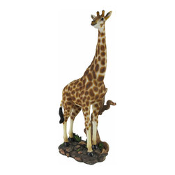 Zeckos - Reach for the Stars Giraffe Statue Figure Animal - This beautiful cold cast resin statue of a giraffe standing in the savanna is quite lifelike. The statue measures 14 1/4 inches tall, 6 inches long and 4 inches wide. It's a must have for giraffe lovers and makes a great gift.