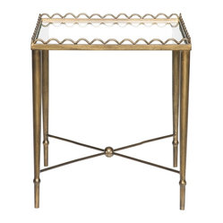Vanguard - Bunching Tables Set - The contemporary design of these sophisticated accent tables is beautifully balanced with classic embellishments. Top them with a lamp or photo display — or utilize their surface space to set drinks down. Finished in antique gold, they add an absolutely elegant touch to your living space.