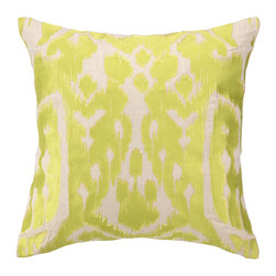 """Trina Turk - Trina Turk Ojai Citron Embroidered Pillow - Modern meets tribal in Trina Turk's square Ojai throw pillow. Its artistic ikat print is embroidered in bright citron and lemon yellow. 20""""W x 20""""H; 100% linen; Includes 95/5 feather down insert; Hidden zipper closure; Dry clean only"""