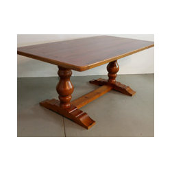Reclaimed Wood Table with Tuscan Trestle - Reclaimed Wood Tables are classic , family durable tables. These tables can be customized to look sleek or rustic but always are casually elegant. All sizes and colors possible. www.lakeandmountainhome.com. 978-505-3222