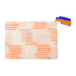 El Sol Clutch / Cosmetic Bag - Tangerine Ikat clutch or cosmetic bag with multi-colored tassel. 100% cotton.