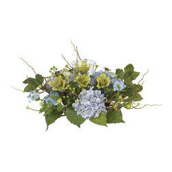 Nearly Natural - Hydrangea Candleabrum Centerpiece - A native of Japan, this lovely hydrangea arrangement makes the perfect centerpiece for your dining room table or kitchen counter space. The unique pom-pom shaped flowers create a sense of elegance and tranquility. Surrounded by sparkling green foliage and bursting buds, this carefully crafted masterpiece is second to none. A delicately designed candelabrum adds a nice finishing touch to this splendid work of art.