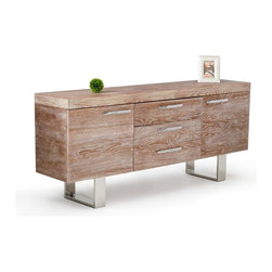 VIG Furniture - Modrest Lola Modern Elm Buffet - The Lola Elm Buffet would make a beautiful addition to your home.This unique finish was created by brush washing a light grey over the natural elm finish. Stainless steel handles and legs add a contemporary touch to the natural look of this design. The spacious top surface is excellent for a buffet of food for your dinner guests while the drawers inside create functional storage space. Features include two doors with inside shelving and three drawers for additional storage. Also available in a walnut finish.