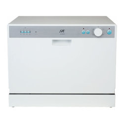 "SPT - SPT Countertop Dishwasher with Delay Start - White - Perfect for apartments, office kitchens or any small-sized kitchens; offers full-size power in a compact design. With a height of only 17.24"", this unit will fit between most countertop and cabinetry. Spacious cavity loads up to six standard place settings. Features easy controls, durable stainless steel interior and delay start. Quick connect to any kitchen faucet eliminates the need for direct plumbing or permanent installation ."