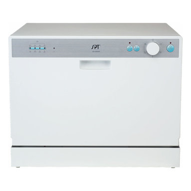 """SPT - SPT Countertop Dishwasher with Delay Start - White - Perfect for apartments, office kitchens or any small-sized kitchens; offers full-size power in a compact design. With a height of only 17.24"""", this unit will fit between most countertop and cabinetry. Spacious cavity loads up to six standard place settings. Features easy controls, durable stainless steel interior and delay start. Quick connect to any kitchen faucet eliminates the need for direct plumbing or permanent installation ."""