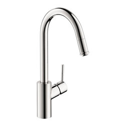 Hansgrohe - Hansgrohe Talis S 1-Spray HighArc, Pull-Down Kitchen Faucet in Polished Chrome - This is a brand new faucet from Hansgrohe (model # 14872001). The firm, straight lines and slim appearance are accentuated by the dynamic tilt of the faucet and the pin-style handle. Talis S is a popular, modern series in a minimalist design. It adds life and verve to the kitchen, but in a calm and discreet manner.