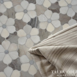 Theodora, Talya Collection by Sara Baldwin for Marble Systems - Theodora, a stone waterjet mosaic shown in Pallisandra crosscut, Skyline crosscut, and Allure honed, is part of the Talya Collection by Sara Baldwin for Marble Systems.