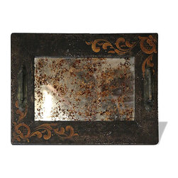 Mirror Accessory Tray, Torched French Black with Scrolls - Mirror Accessory Tray, Torched French Black with Scrolls