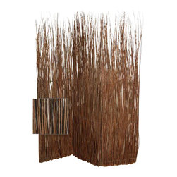 Adirondack Screen Brown/White - Add a rustic note to your space as you hide clutter with this unique screen of willow branches. Add a tall plant and you may feel you've gone back to nature while living in the city.