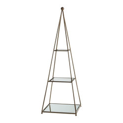 Arteriors - Deacon Etagere - With its slender open pyramid design, mirrored shelves and subtle antique brass finish, this simple yet elegant etagere will fit into many styles and many corners. The airy design is perfect for displaying a single special object on each shelf.