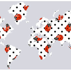 """Studio Map Mural - Ladybugs - Peel & Stick - 1 Panel - 74"""" x 36"""" - From our studio collection, decorative map themed prints in huge wall mural sizes. Instant color or texture to any room!   The peel and stick material goes up in seconds, is repositionable, and will not damage walls when removed. The finely woven fabric material will not wrinkle or bubble, and will stay put for years. This is an ideal material for dorm rooms and apartments where permanent modifications to walls are forbidden. Instantly add color and visual texture to your room with one of these easy to hang, map themed wall coverings. (Note that due to the flexibility and nature of the thin fabric material, uneven wall surfaces may show texture through the material. For best results apply to a smooth surface.)  Single panel murals come as a single sheet & are intended for one or two people to apply.  Studio Map Murals are made to order & are not returnable once opened.  Please allow two weeks for delivery.  Express shipping not available."""