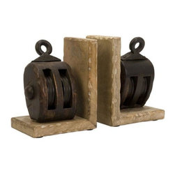 Home Decorators Collection - Pulley Bookends- Set of 2 - These bookends offer a touch of rustic style that will look great as a part of your bookcase. Featuring a vintage-style pulley on each weathered, slightly distressed wooden stand, these pieces will add character and distinguished style to your space. Add these home accents to your decor today. Mango wood construction offers lasting beauty and style. A combination of brown finishes completes the look.
