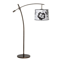 "Lamps Plus - Contemporary Tara Black and White Flower Balance Arm Arc Floor Lamp - The Tara arc floor lamp features an adjustable balance arm that allows you to position the lamp for reading or other tasks. The design comes in a warm tiger bronze finish and has an on/off floor switch for easy lighting control. At the end of the boom arm is an on-trend designer white drum shade with a vintage style black flower graphic for a burst of style. Adjustable balance arm floor lamp. Tiger bronze finish. White and black flower graphic drum shade. Maximum 100 watt or equivalent bulb (not included). On/off floor switch. 69"" max height. 63"" to top of center post. 41"" long arm. 32"" arm extension from center post. Shade is 15"" across the top 16"" across the bottom 11"" high. 16"" wide base.  Adjustable balance arm floor lamp.  Tiger bronze finish.  White and black flower graphic drum shade.  Maximum 100 watt or equivalent bulb (not included).  On/off floor switch.  69"" max height.  63"" to top of center post.  41"" long arm.  32"" arm extension from center post.  Shade is 15"" across the top 16"" across the bottom 11"" high.  16"" wide base."