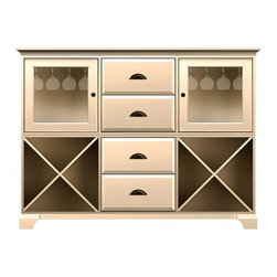Howard Miller Custom - Molly Cabinet w 4 Drawers in Antique Vanilla - This cabinet is finished in Antique Vanilla on select Hardwoods and Veneers, with Antique Brass hardware. 2 doors with plain Glass. 2 cross storage shelves and 2 stemware racks. 4 raised panel drawers. Cove profile top and cove profile base. Hardware: knobs on doors and cup pulls on drawers. Features soft-close doors, metal drawer glides, and metal shelf clips. Simple assembly required. 73 1/2 in. W x 17 in. D x 54 3/4 in. H